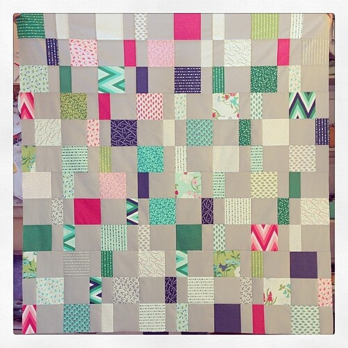 Charm Pack Cherry quilttop all done @fatquartershop #colormehappy