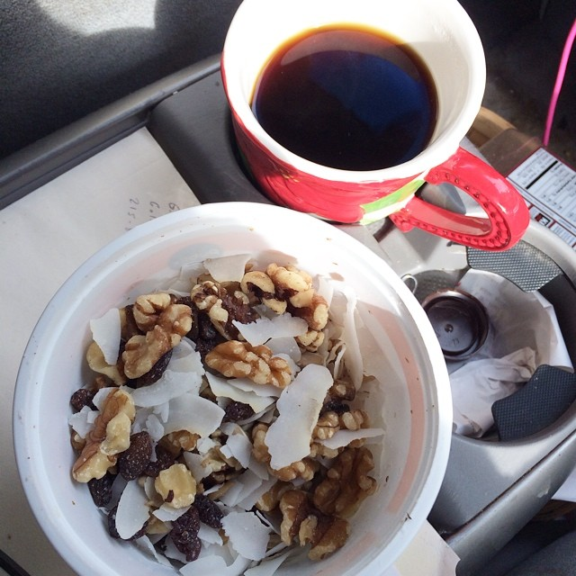 Day 18, #whole30 - breakfast (trail mix & coffee)
