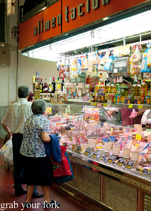 Delicatessen in Mercado de la Cebada in Madrid, Spain