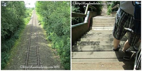 Collage Holzbrücke über Gleise