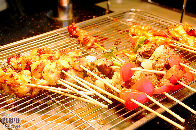 Grilled meat skewers