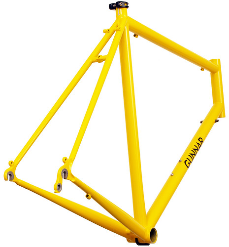 <p>Rear view of Gunnar Roadie Custom in Gunnar Yellow.  This frame, with made to measure fit snd custom braze-ons, sports Gunnar's classic Yellow, a color that communicates both joy and power.</p>