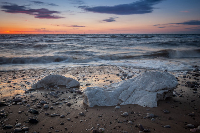 Towyn sunset rocks