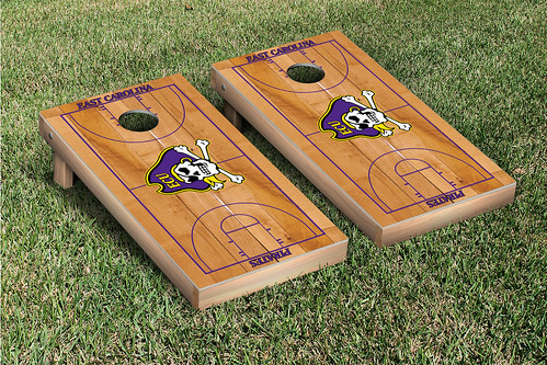 East Carolina University ECU Pirates Cornhole Game Set Basketball Court
