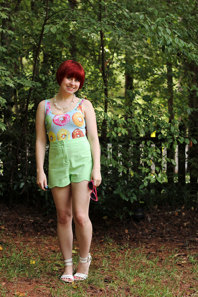 Donut Print Top with Light Green Shorts and White Sandals