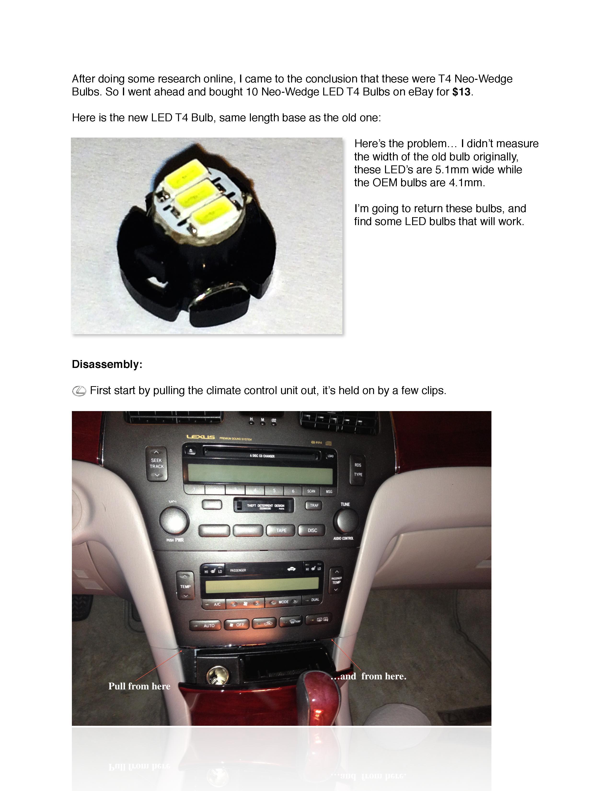 Diy 4es Climate Control Bulb Replacement Clublexus Lexus Forum