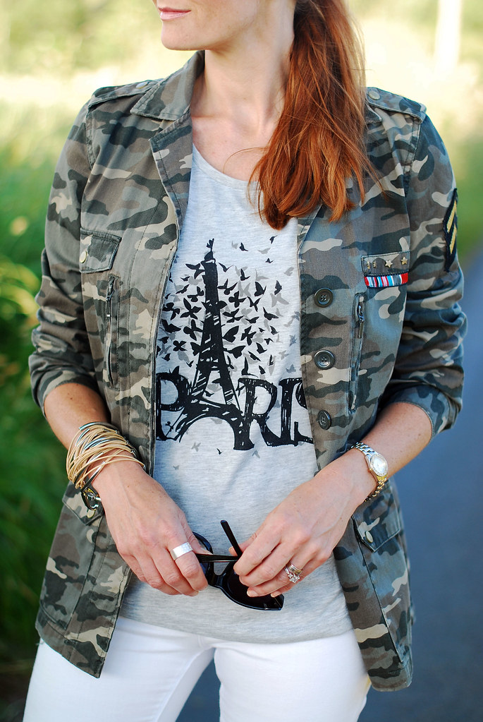 Camo jacket, white skinnies and graphic tee
