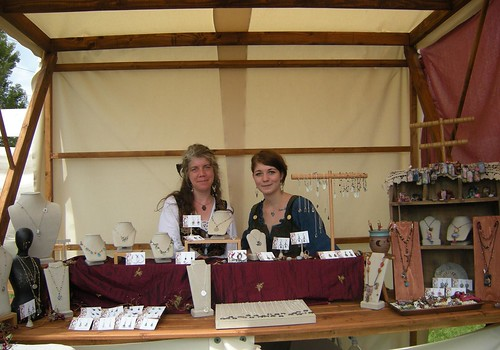 Rain and Em in the market stall