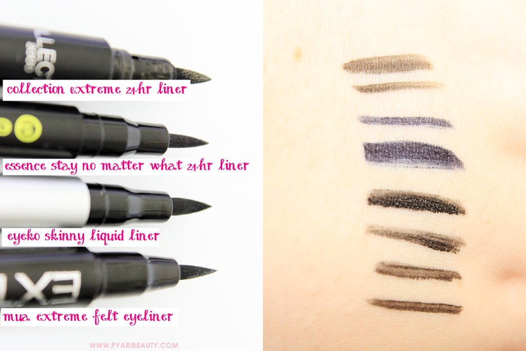 Drugstore Felt Tip Eye Liners Swatches Collection 2000, Eyeko, Essence & MUA