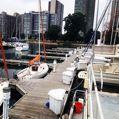 It\'s cooler on the lake! We\'ve got boats available. #belmontharbor #sailing #lakemichigan #chicago