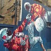 Knife fight in space - Fintan Magee #bigartmob #streetart Hanbury St