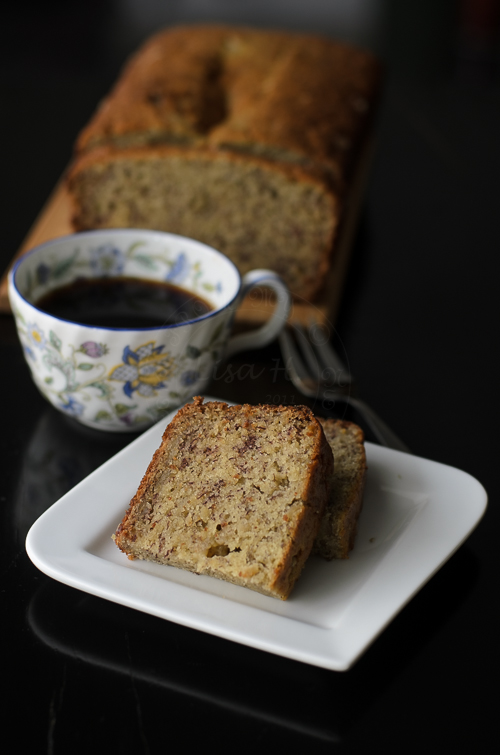 Banana cake using spelt flour and buttermilk.