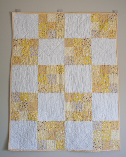 modern vintage baby quilt- yellow