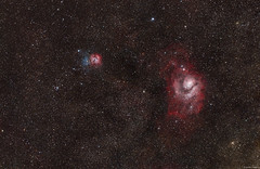 The Lagoon Nebula (M8) and Trifid Nebula (M20)