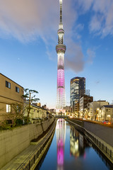 "Tokyo Skytree: Blue Hour and Long Exposure with ""frozen water"""
