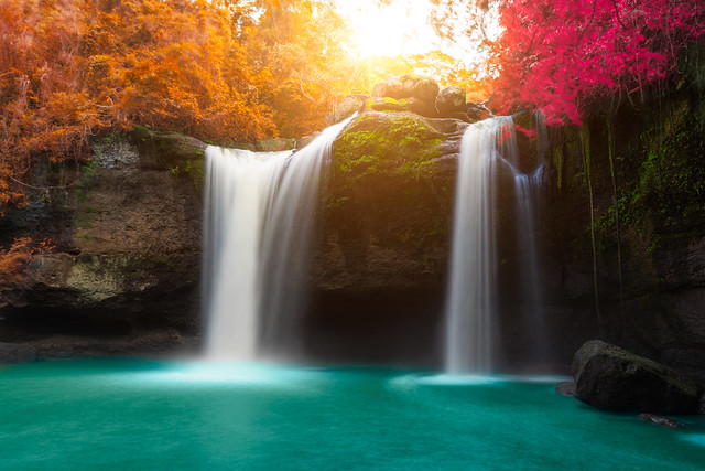 Amazing beautiful waterfalls in autumn forest