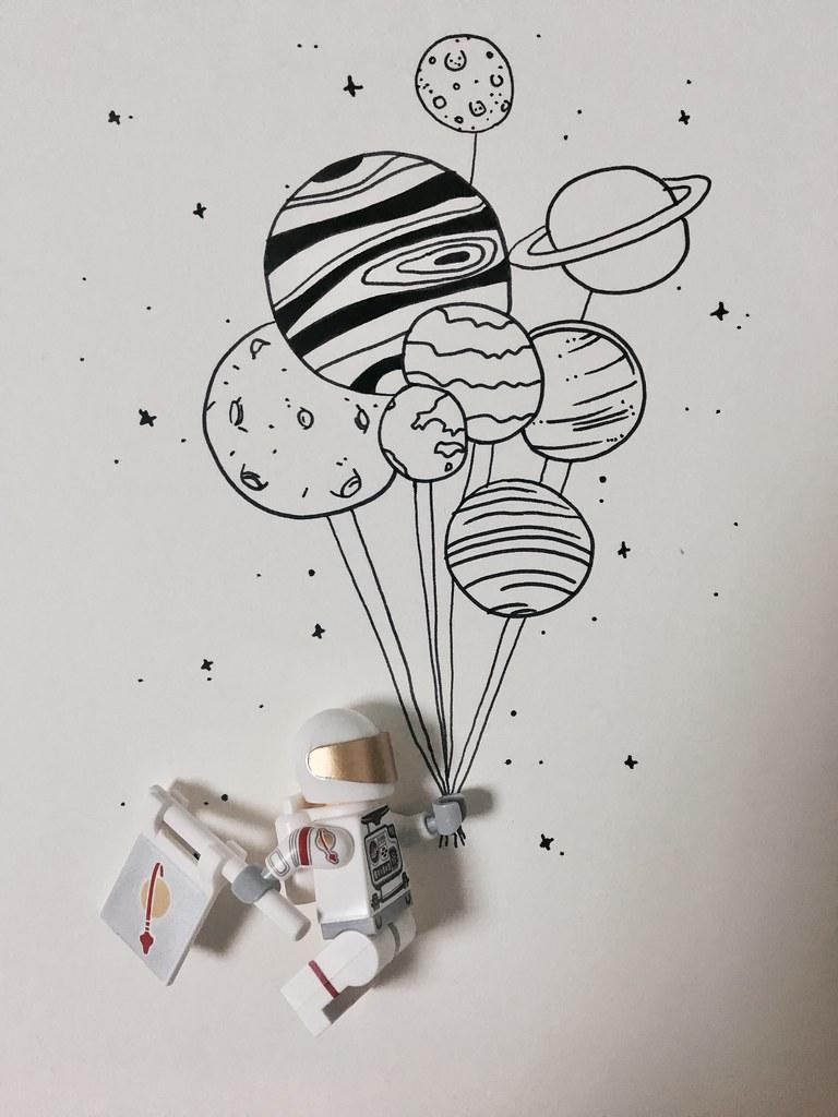 우주 비행사와 드로잉