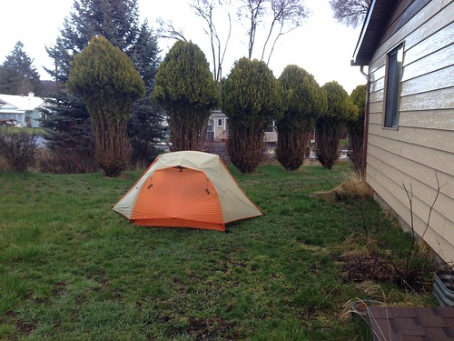 yard camping in the rain