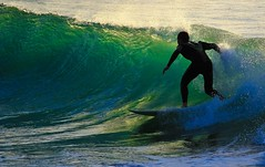 surfing on the green wave - Hertzelia beach - Israel