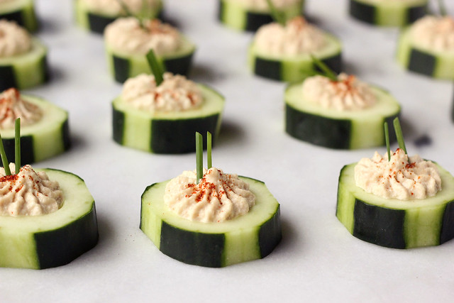 Sprouted Hummus Cucumber Cups