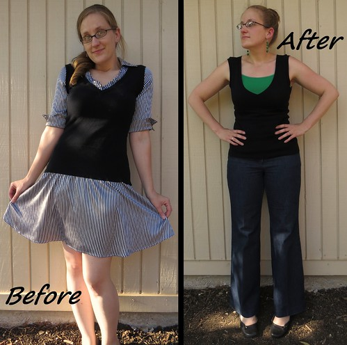 Sweater Vest Refashion - Before & After