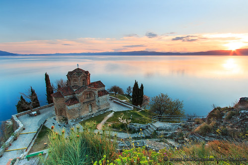 sunset lake church sunrise macedonia ortodox fyrom balcans