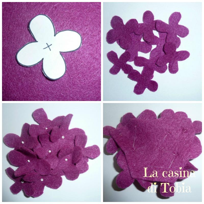 Fascia capelli con fiore ortensia di feltro