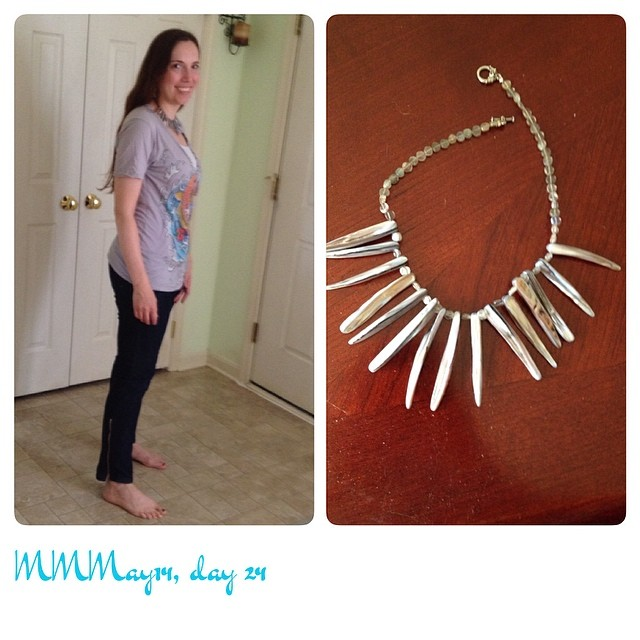 Me-made necklace/earrings, refashioned jeans, thrifted t-shirt. Haven't left the house, so no shoes! #mmmay14