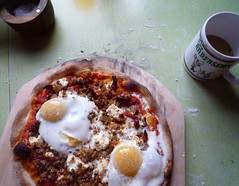 sausage & egg pizza