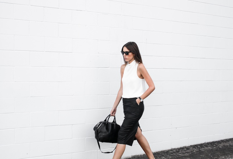 modern legacy blog street style off duty Camilla and Marc high neck white top ASOS leather pencil skirt Helmut Lang oxfords loafers monochrome minimalist Alexander Wang blogger what to wear to work (8 of 10)