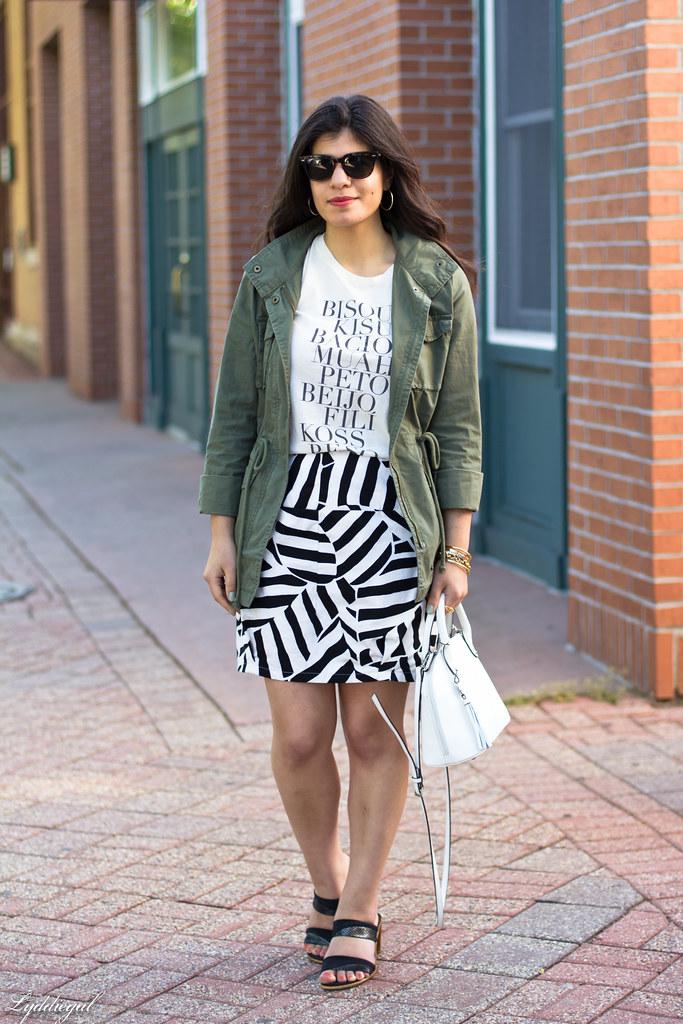 kiss tee, utility jacket, black and white skirt.jpg