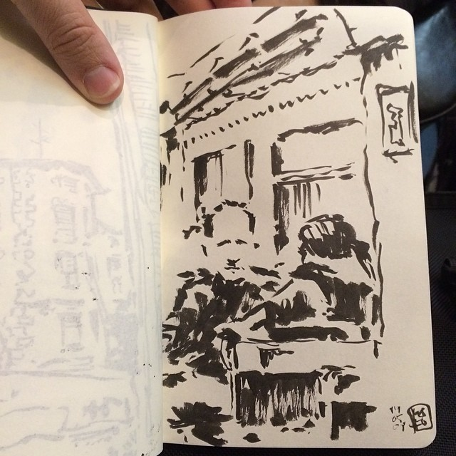 #train #urbansketch #pentel