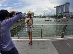 Cutie pie in front. Dragon boats gather in the horizon. #cosplay #dbsmarinaregatta at Marina Bay Financial Centre