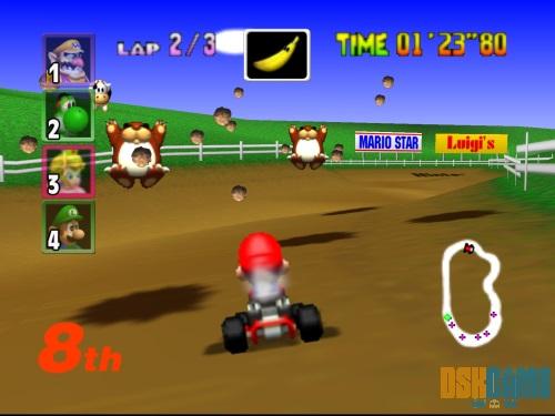 Mario Kart 64 emulado con Project 64