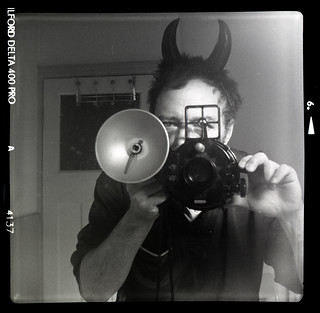 reflected self-portrait with Nemrod Silura camera and horns