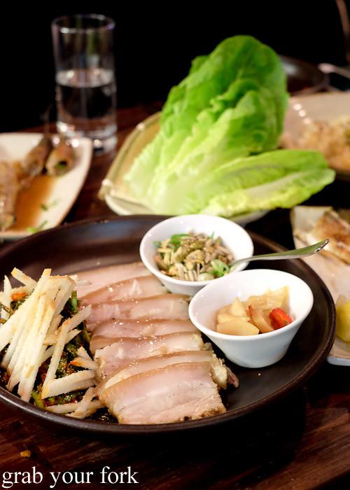 Bossam pork belly with ssamjang at Kim Restaurant, Potts Point