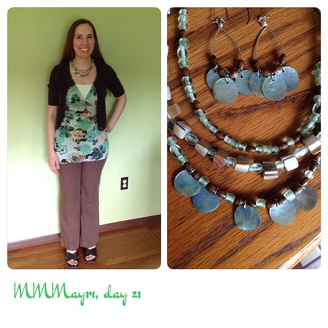 Made the pants/top, purchased cardi/cami. Also one of my favorite me-made jewelry sets ever. #mmmay14