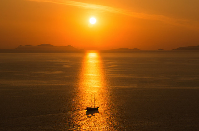 Sailing Ship at Sunset - Oia - Santorini