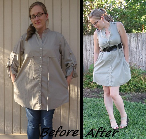 Khaki Shirt Dress - Before & After