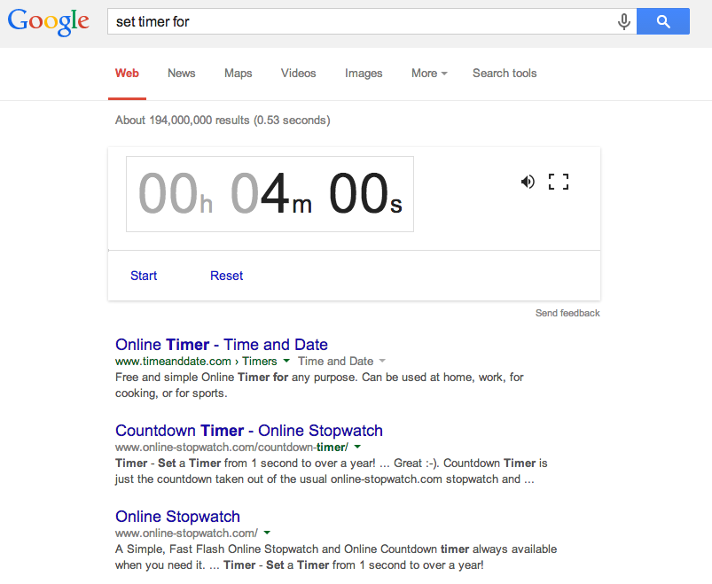Google Search - Set Timer