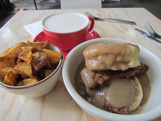 Hooten Biscuits and Gravy (with tempeh), Potatoes and Spicy Chai from Sweetpea