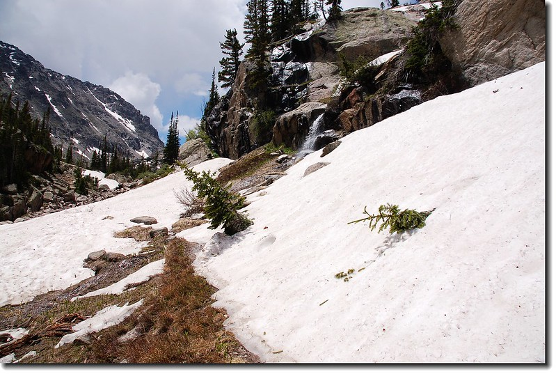 Snowfield covered the trail