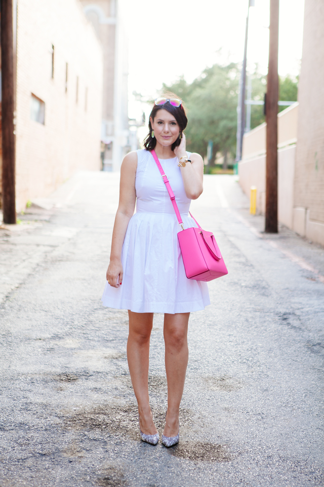 white summer dress pink Kate Spade bag