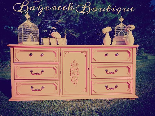 Refinished dresser in coral