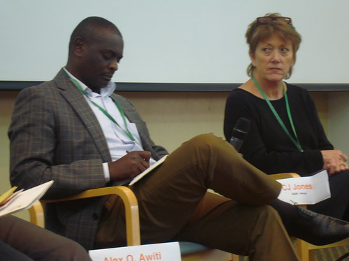 DevCom CoP: Policymakers Alex Awiti, East African Institute of the Aga Khan University (Kenya); and CJ Jones, One Acre Fund microinsurance (Kenya)