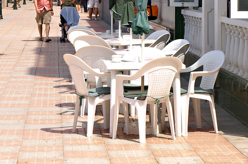White plastic seating in Tenerife