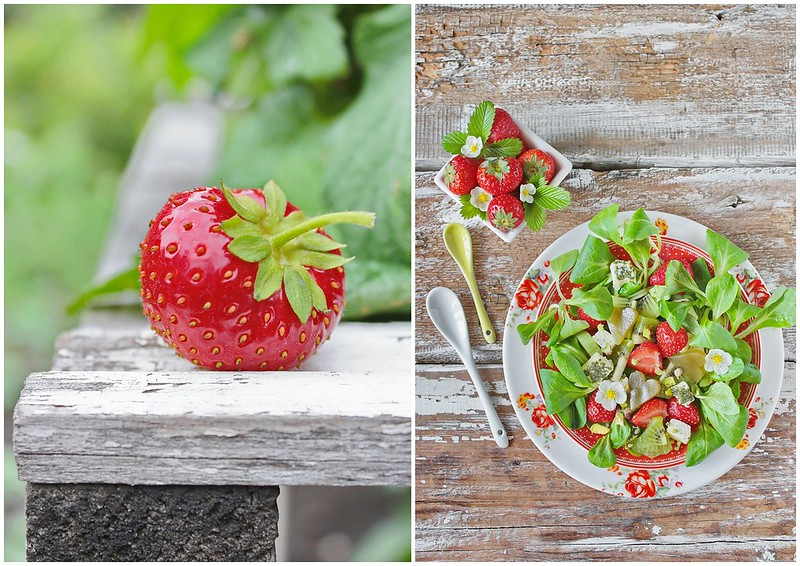 ...salad and strawberries collage