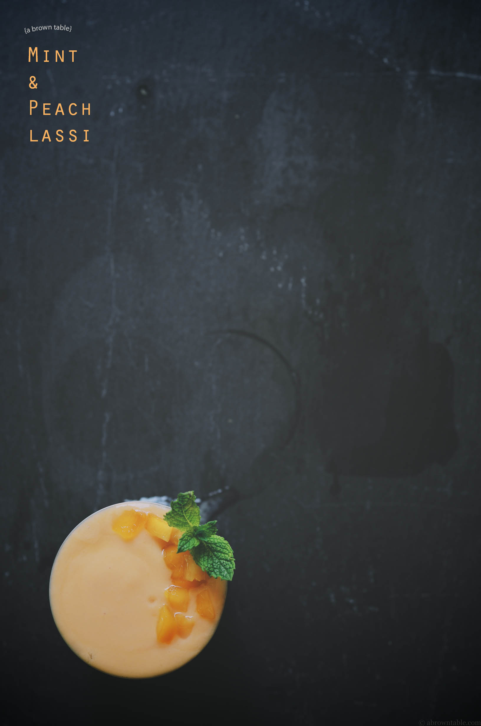 peach lassi with mint