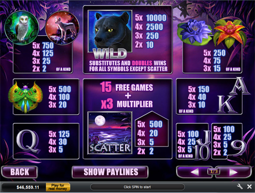 free Panther Moon slot paytable
