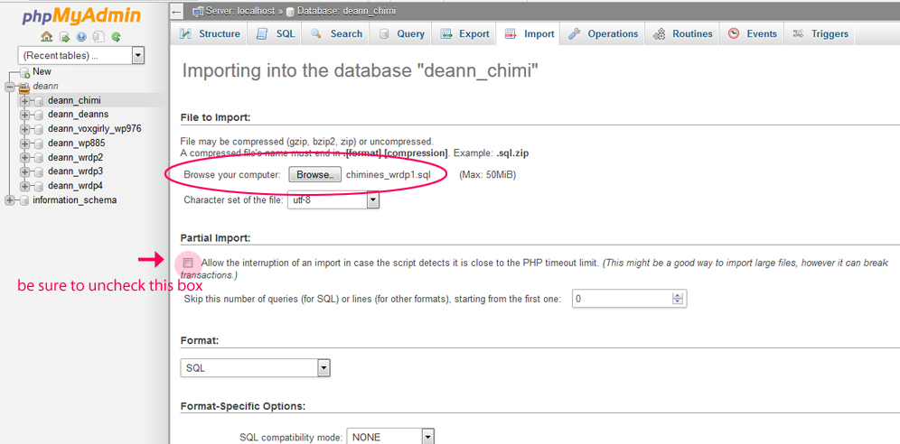 uploading the database on phpmyadmin